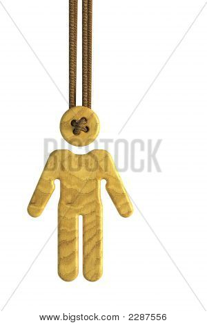 3d rendering of the wooden doll suspended on laces poster