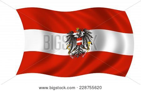 Waving Austrian Flag With Eagle In The Colors Red And White