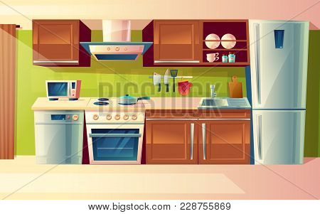 Vector Cartoon Cooking Room Interior, Kitchen Counter With Appliances - Washing Machine, Toaster, Fr