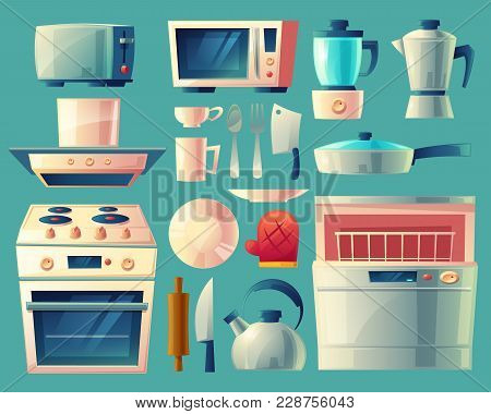 Vector Cartoon Set Of Kitchen Appliances - Washing Machine, Toaster, Fridge, Microwave, Kettle, Blen