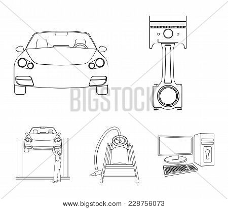 Car On Lift, Piston And Pump Outline Icons In Set Collection For Design.car Maintenance Station Vect