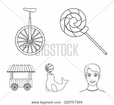 Lollipop, Trained Seal, Snack On Wheels, Monocycle.circus Set Collection Icons In Outline Style Vect