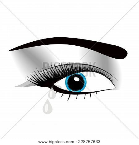 Crying Beautiful Eyes In Anime Or Manga Style With Teardrops And Light Reflections. Highly Detailed