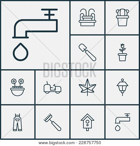 Farm Icons Set With Leaf, Floret, Park Lamp And Other Garden Clothes Elements. Isolated  Illustratio