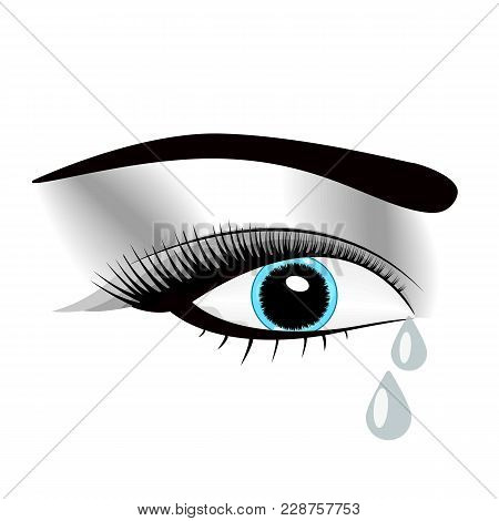 Beautiful Watercolor Illustration With Crying Eyes. Black Illustration. Women S Watery Eyes. Eyes Wi