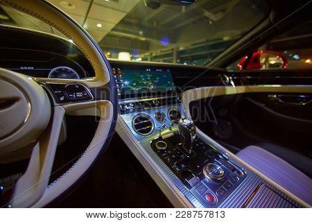 Car Interior Luxury. Interior Of Prestige Modern Car. Dashboard And Steering Wheel. Focus On Steerin