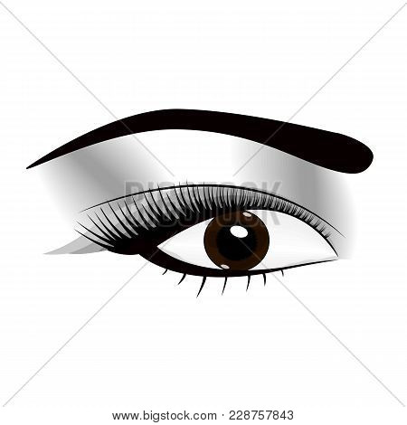 Woman Fresh Makeup Look With Perfectly Perfectly Shaped Eyebrows And Extra Full Lashes. Idea For Bus