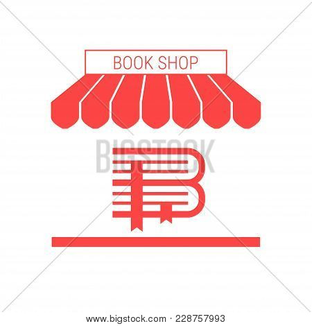 Book Shop, Antiquarian Rare Books Store Single Flat Vector Icon. Striped Awning And Signboard. A Ser