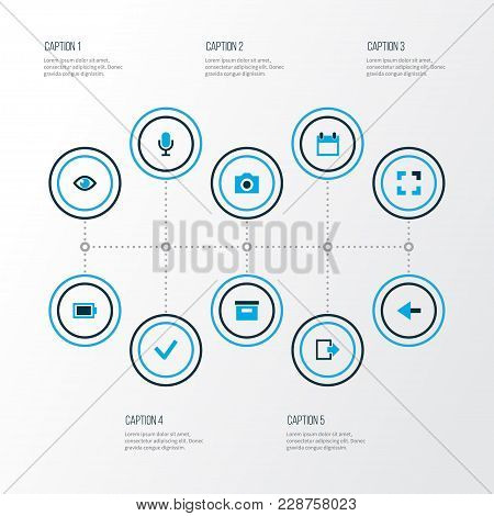 User Icons Colored Set With Back, Camera, Microphone And Other Mike Elements. Isolated  Illustration