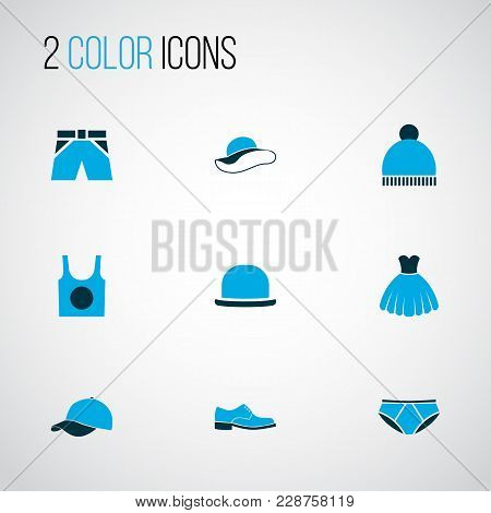 Clothes Icons Colored Set With Fedora, Singlet, Underpants And Other Beanie Elements. Isolated  Illu