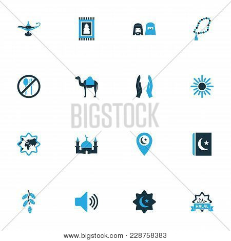 Religion Icons Colored Set With Rosary Islam, Food, People And Other World Elements. Isolated  Illus