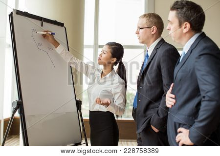 Young Asian Business Woman Drawing Growth Diagram On Flipchart For Two Partners. Business Group Anal
