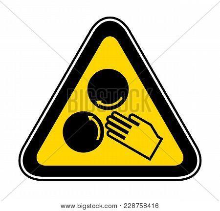 Triangular Yellow Warning Hazard Symbol, Vector Illustration
