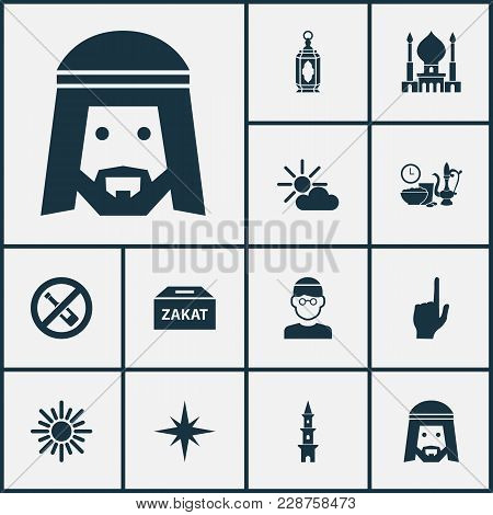 Religion Icons Set With God, Forbidden, Zakat And Other Pointer Finger Elements. Isolated  Illustrat
