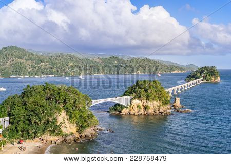 Samana - Dominican Republic. Samana Bridge. Beautiful Separate Standing Rocky Islands Connects With