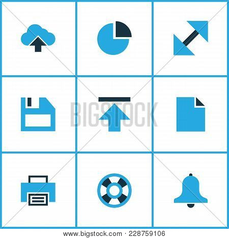 User Icons Colored Set With Lifeguard, Floppy Disk, Alarm And Other Enlarge Elements. Isolated  Illu