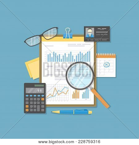 Financial Document With Graphs And Charts On Clipboard, Calculator, Glasses, Magnifier, Calendar, Pe