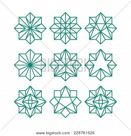 Line Art Geometric Abstract Star Icon Collection. Green Color Octagonal Outline Contour Stars. Vecto