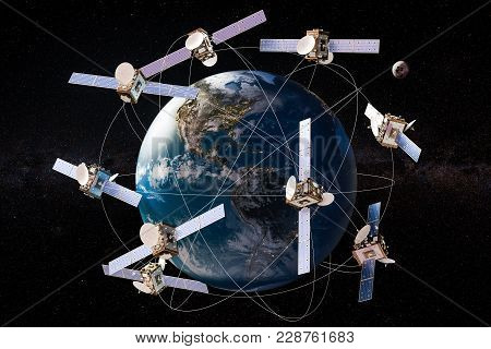 Space Satellites In Eccentric Orbits Around The Earth Globe, 3d Rendering