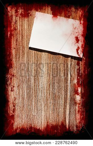 Suicide Bloody Note On Grunge Wooden Background With Black Frame.halloween Background