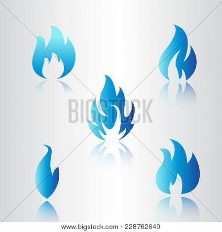 Blue Flame Collection,  Flame Icon Vector App, Blue Flame Icon Vector.