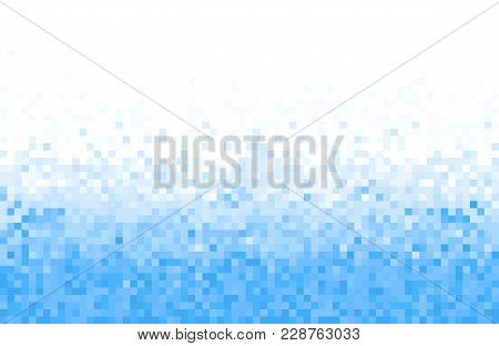Blue Pixel Square Tiled Mosaic Background. Abstract Digital Background. Geometric Style.