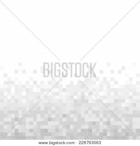 Grey Geometric Pixel Background. Abstract Digital Background With Mesh Of Squares.