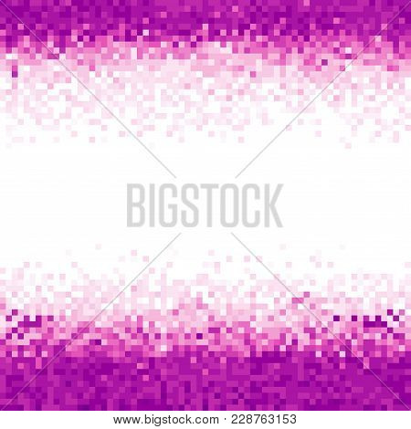 Purple Abstract Pixel Background. Digital Background With Mesh Of Squares. Geometric Style
