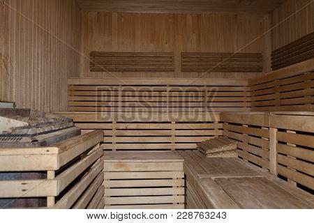 Sauna Interior. Interior Of A Finnish Sauna