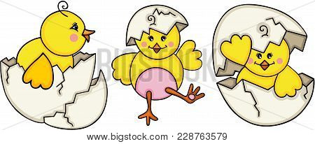 Scalable Vectorial Representing A Little Chick Cracked Egg, Element For Design, Illustration Isolate
