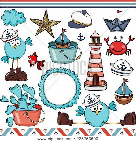 Scalable Vectorial Representing A Nautical Set Digital Elements For Design, Illustration Isolated On