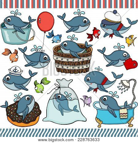 Scalable Vectorial Representing A Whale Set Digital Elements For Design, Illustration Isolated On Wh