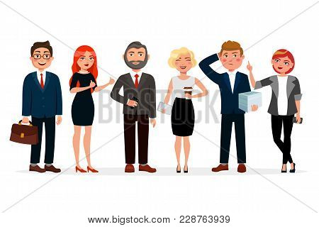 Business People Standing Together Vector Illustration In Flat Design. Set Of Various Business People