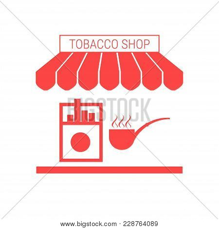 Tobacco Shop, Cigarette Kiosk Single Flat Vector Icon. Striped Awning And Signboard. A Series Of Sho