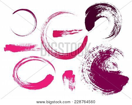 Hand Drawn Abstract Make Up Paint Brush Strokes. Vector Set Collection Of Pink Smears Paint Isolated