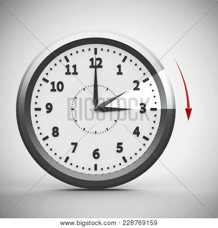Clock Switch To Summer Time (daylight Saving Time Begins) Isolated On A White, Three-dimensional Ren