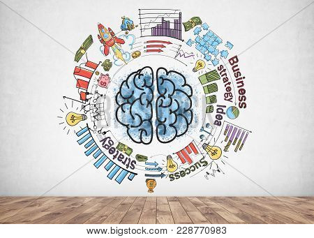 Colorful Business Strategy Sketch And Skillful Planning Icons. A Blue Brain Doodle In Its Centre Dra