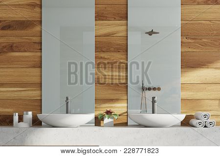 Wooden Bath Room, Double Sink. Close Up
