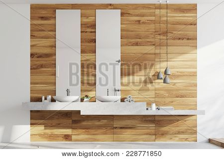 Wooden Bath Room, Sinks And Wooden Wall