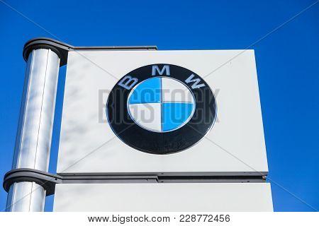 Fuerth / Germany - February 25, 2018: Bmw Logo Near A Car Dealer. Bmw Is A German Multinational Comp