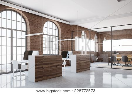 Brick Open Space Office Interior With Arch Windows, A Concrete Floor And Cubicles. A Side View. 3d R