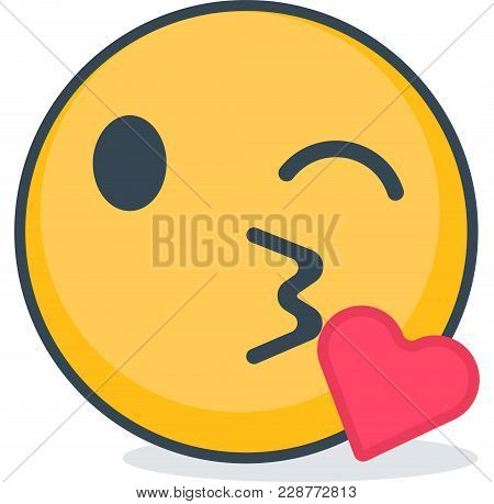 Air Kiss Emoticon. Isolated Vector Emoticon On White Background.