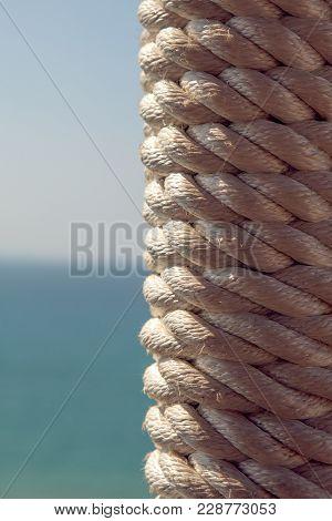 White Nautical Rope Bundle, Close Up Photo.