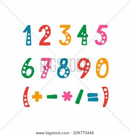 Vector Set Of Numbers And Mathematical Symbols. Objects Isolated On White Background.