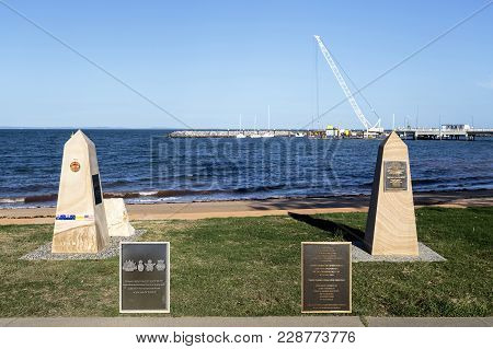 Redcliffe, Australia - February 26, 2018: Memorial To The Vietnam Veterans (left) And Servicemen And