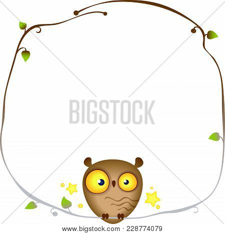 Cute Funny Owl Sits On A Frame Of A Tree Branch. Owl Wisdom Vector Design Template. Image Contains G