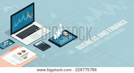 Finance, Business And Innovative Technology: Financial Apps And Services On Laptop And Mobile Device