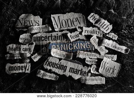 Bad Economic Related News Headlines On Dark Background