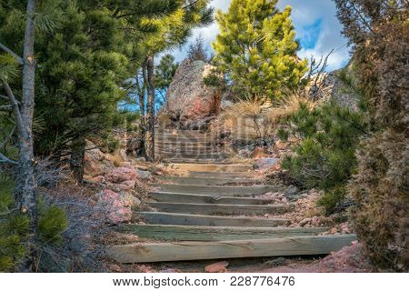 mountain hiking trail with stairs in northern Colorado - Horsetooth Rock trail