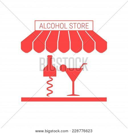 Alcohol Store, Liquor Shop, Bar Single Flat Vector Icon. Striped Awning And Signboard. A Series Of S